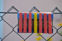 YELLOW PLASTIC PEG SANDWICHED BETWEEN RED ONES. A yellow plastic peg in between the red ones on a fence royalty free stock image