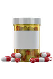 Yellow plastic phial with pills Royalty Free Stock Photos