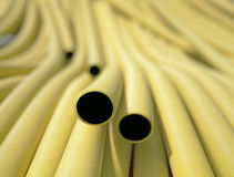 Yellow plastic pipes Royalty Free Stock Photos