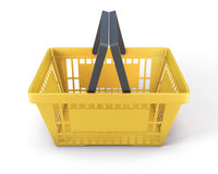 Yellow plastic shopping baskets for food Royalty Free Stock Images
