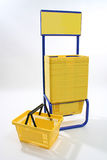Yellow Plastic Shopping Baskets Royalty Free Stock Image