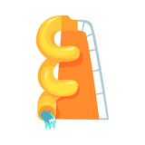Yellow plastic slide, equipment for an aquapark cartoon vector Illustration. On a white background Royalty Free Stock Photos