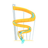 Yellow plastic slide, equipment for water park cartoon vector Illustration. On a white background Stock Photo