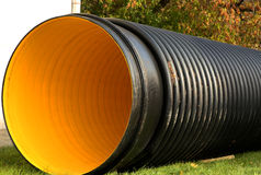 Yellow plastic Soilpipe Royalty Free Stock Photography