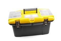 Yellow plastic toolbox Stock Images