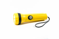 Yellow plastic torch flashlight Stock Image