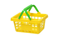 Yellow plastic toy cart Royalty Free Stock Images