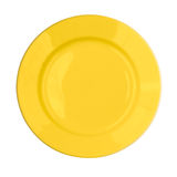 Yellow plate isolated top view Royalty Free Stock Photos