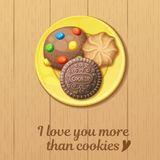 Yellow plate with three round cookies top view. Monster, chocolate, butter cookie. Cartoon vector illustration. Food sweet icons. I love you more than cookies Stock Image
