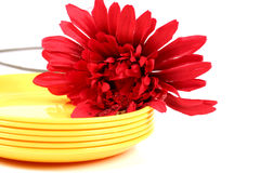 Yellow plates Royalty Free Stock Images