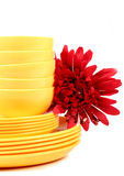 Yellow plates and bowls Stock Photography