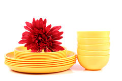 Yellow plates and bowls Stock Image