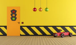Yellow playroom with toy car Stock Image