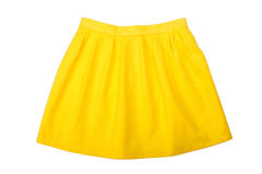 Yellow pleated skirt. Isolated on white background Royalty Free Stock Image