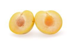 Yellow plum. On white background Royalty Free Stock Photos