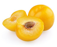 Yellow plum with halves Stock Photos