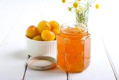Yellow plum marmalade Stock Photos