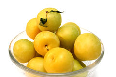 Yellow plums. Bowl of yellow plums Stock Image
