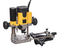 Yellow plunge router with fine adjustment. Royalty Free Stock Photography