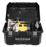 Yellow plunge router in toolbox. Stock Image