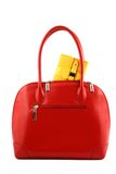Yellow Pocket In A Red Handbag Stock Photography