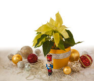 Yellow Poinsettia and Christmas decorations products of mass Stock Photo