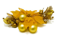 Yellow Poinsettia Flower Christmas-tree decorations. Front view Stock Photography
