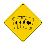Yellow poker sign. Poker sign with 4 aces Stock Photography