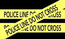 Yellow Police Line Do Not Cross tape on black background. Police line do not cross yellow tape on black background Stock Photos