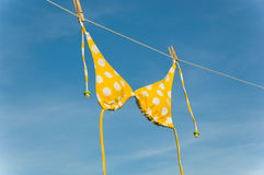 Yellow Polka Dot Bikini Stock Photos