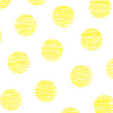 Yellow polka dots. On white background Stock Images