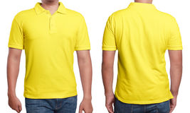 Yellow Polo Shirt Design Template. Yellow polo t-shirt mock up, front and back view, isolated. Male model wear plain yellow shirt mockup. Polo shirt design stock images