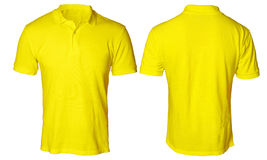 Yellow Polo Shirt Mock up. Blank polo shirt mock up template, front and back view, isolated on white, plain yellow t-shirt mockup. Polo tee design presentation Stock Photo