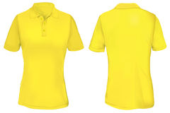 Yellow Polo Shirt Template for Woman. Vector illustration of blank yellow polo t-shirt template for woman, front and back design isolated on white Stock Image
