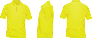 Yellow polo t shirt. front, back and side view. Vector stock illustration