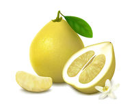 Yellow pomelo fruit on white background Royalty Free Stock Images