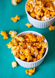 Yellow popcorn. Two Bowls with yellow popcorn Royalty Free Stock Images