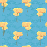 Yellow poppy on blue background Stock Photography