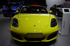 Yellow Porsche boxster Royalty Free Stock Photos