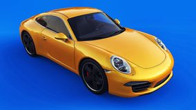 Yellow Porsche 911 three-dimensional raster illustration on a blue background. 3d rendering. stock illustration