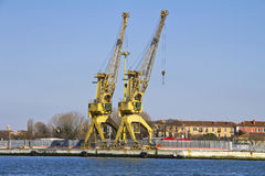 Yellow port crane Stock Photos
