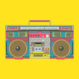 Yellow portable audio speaker - music vector illustration Royalty Free Stock Images