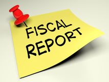 Yellow post with the write Fiscal Report - 3D rendering Stock Photography