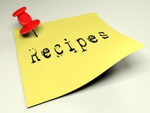 Yellow post with the write Recipes - 3D rendering Stock Photos