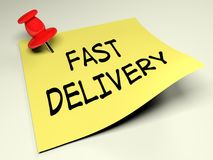 Yellow post with the write Fast Delivery - 3D rendering Stock Image