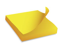 Yellow post it block Royalty Free Stock Image