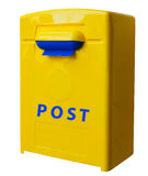 Yellow post box Stock Images