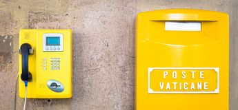 Yellow post box in Vatican stock photos