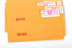Yellow post envelopes with letters Stock Photography