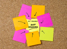 Yellow post it note on cork board and marker arrow as reminder of quit smoking. Stop cigarettes, nicotine and tobacco habit New Year resolution and start Stock Photo